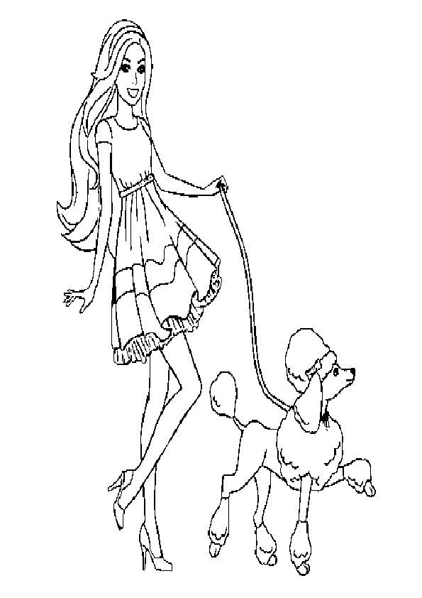 ausmalbilder barbie mit tiere-3