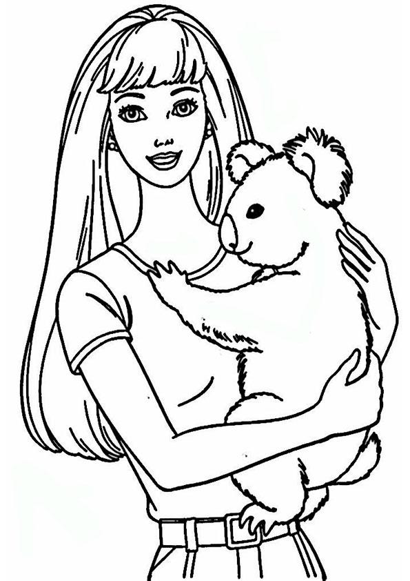 ausmalbilder barbie mit tiere-10