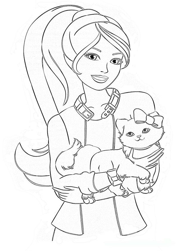 ausmalbilder barbie mit tiere-6